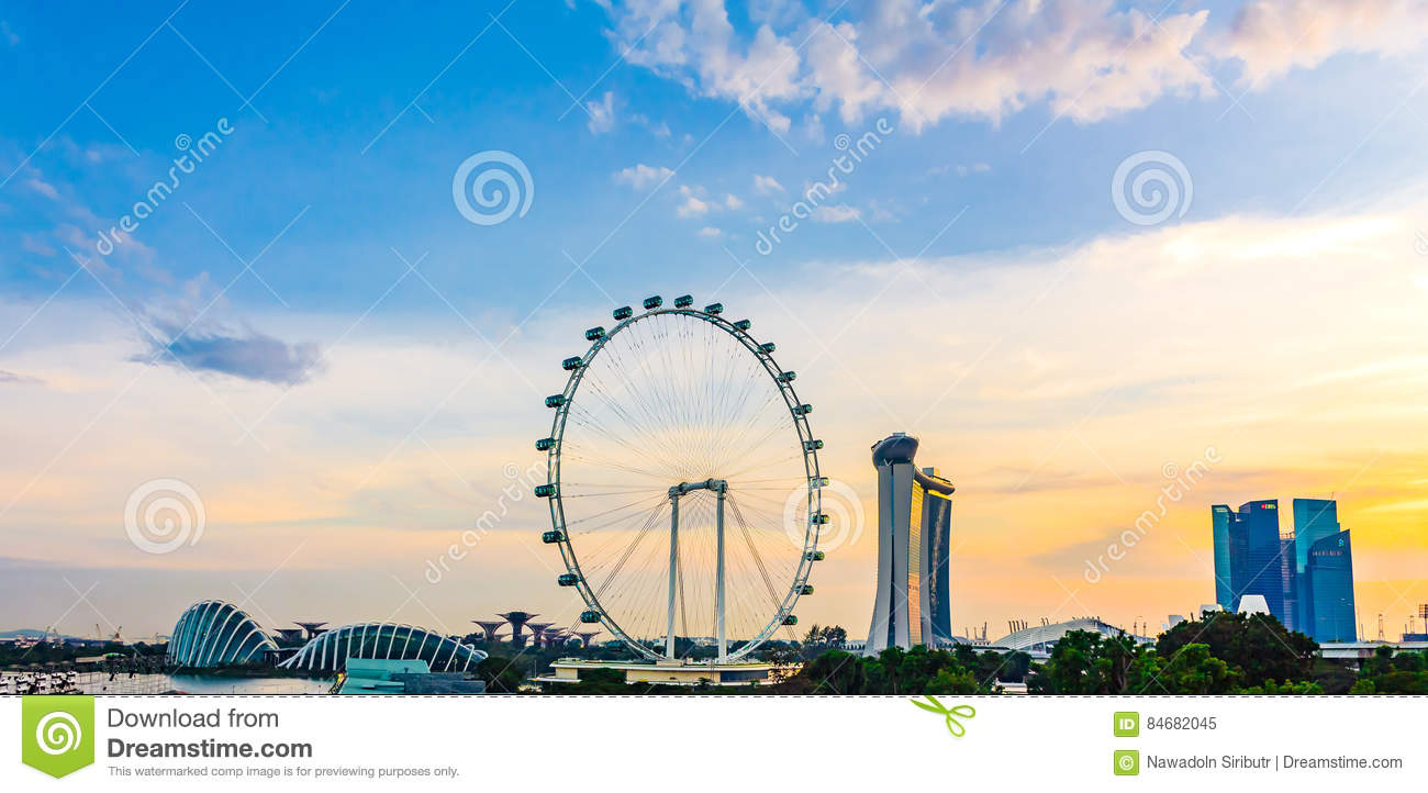 Panorama view of Marina Bay. High view of Singapore Flyer