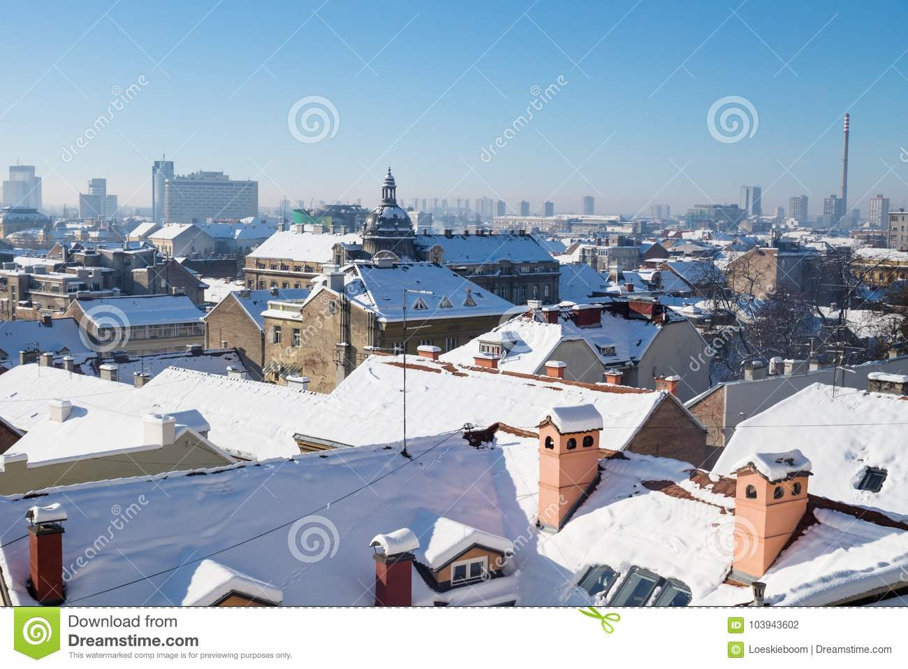 Panorama View Over Zagreb With Dome And Chimneys During Winter With Snow Over The Roofs Zagreb Croatia Europe Editorial Photography Image Of History Monumental 103943602