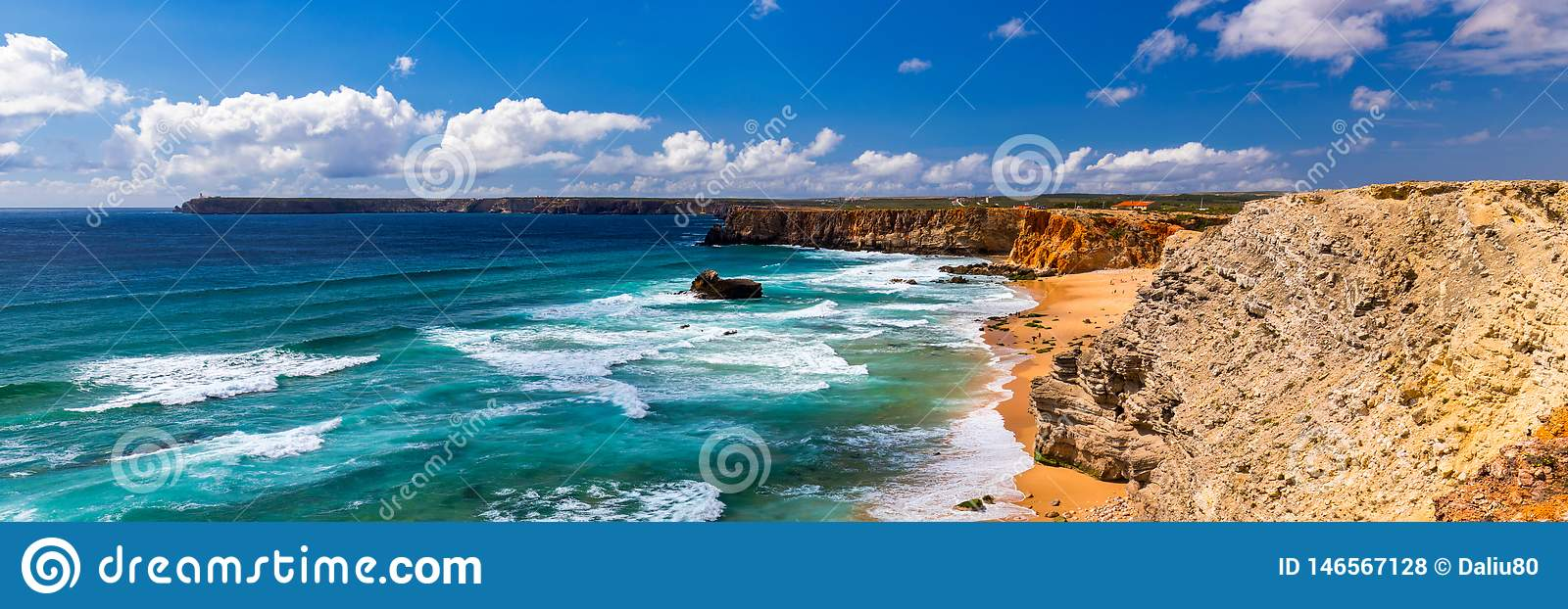 Panorama view of Praia do Tonel (Tonel beach) in Cape Sagres, Algarve, Portugal. Praia Do Tonel, beach located in Alentejo,