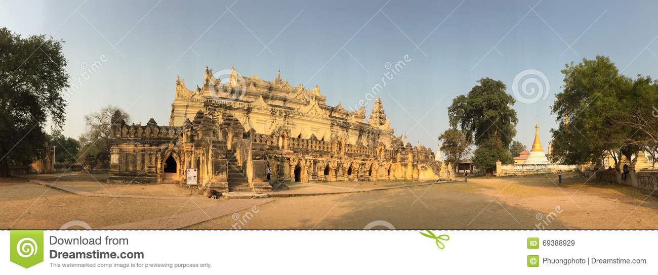 Panorama view of the temple at Innwa village in Myanmar