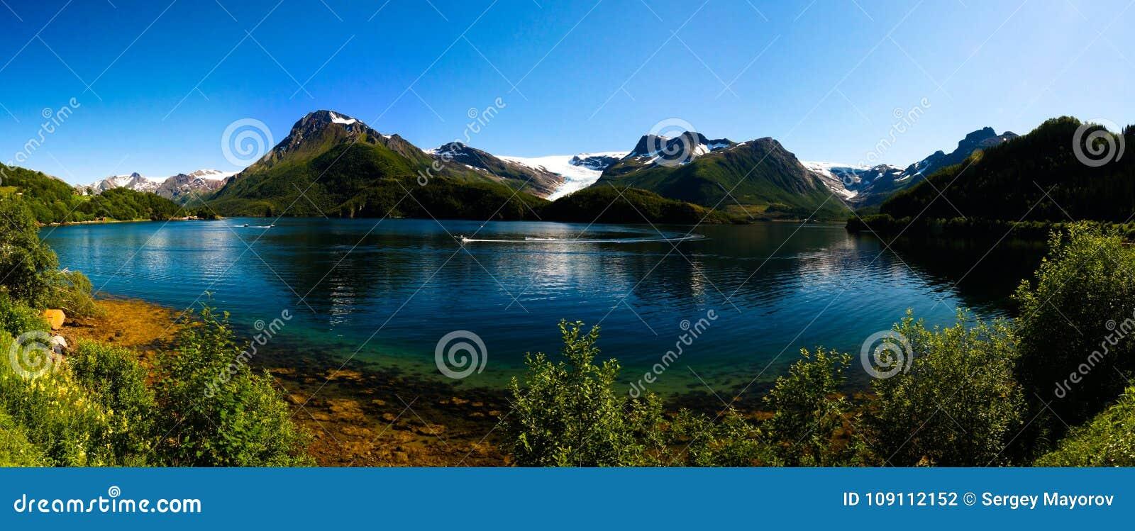 Panorama view to Nordfjorden and Svartisen glacier, Meloy, Norway
