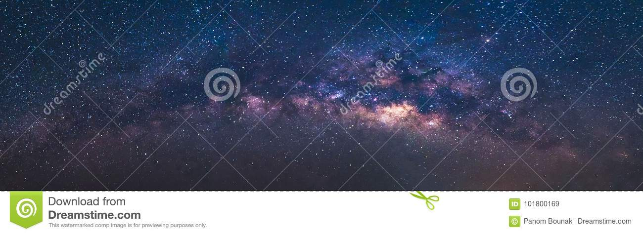 Panorama view universe space shot of milky way galaxy with stars on a night sky