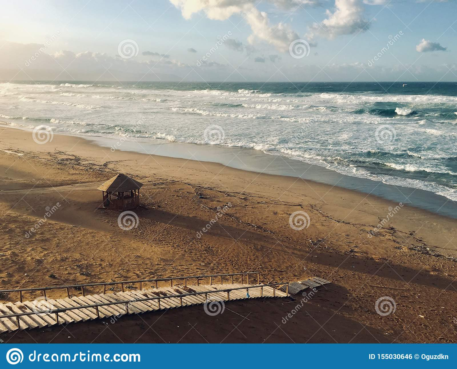 Panorama of virgin Mediterranean seashore landscape in Skikda, Algeria