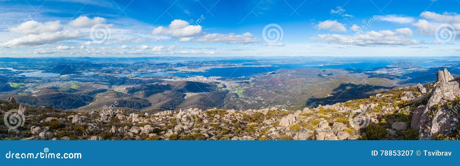 Panorama von Hobart vom Berg Wellington, Tasmanien