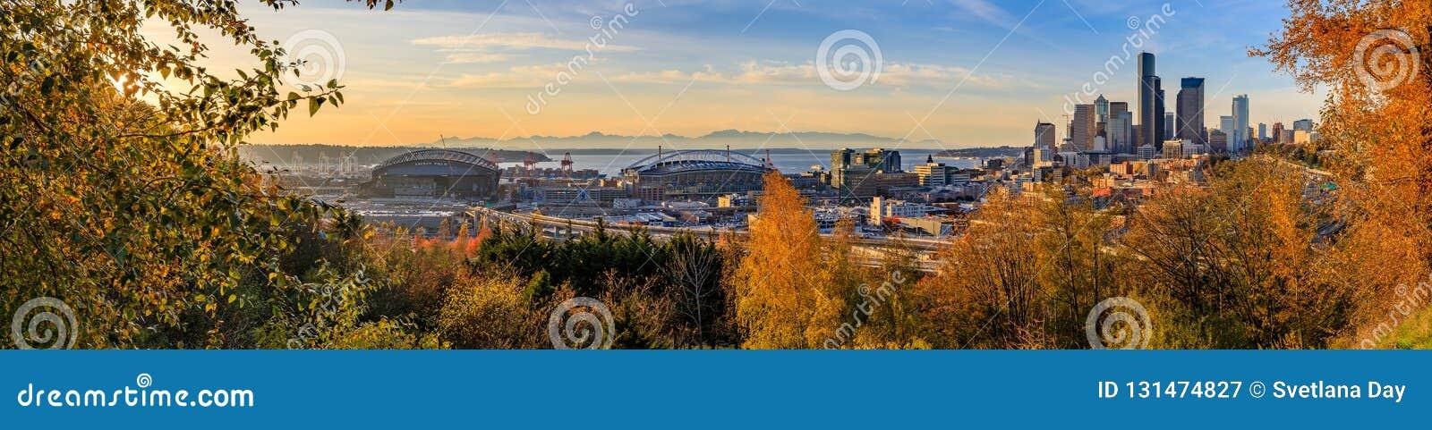 Panorama von im Stadtzentrum gelegenen Skylinen Seattles bei Sonnenuntergang im Fall mit gelbem Laub im Vordergrund von Dr. Jose