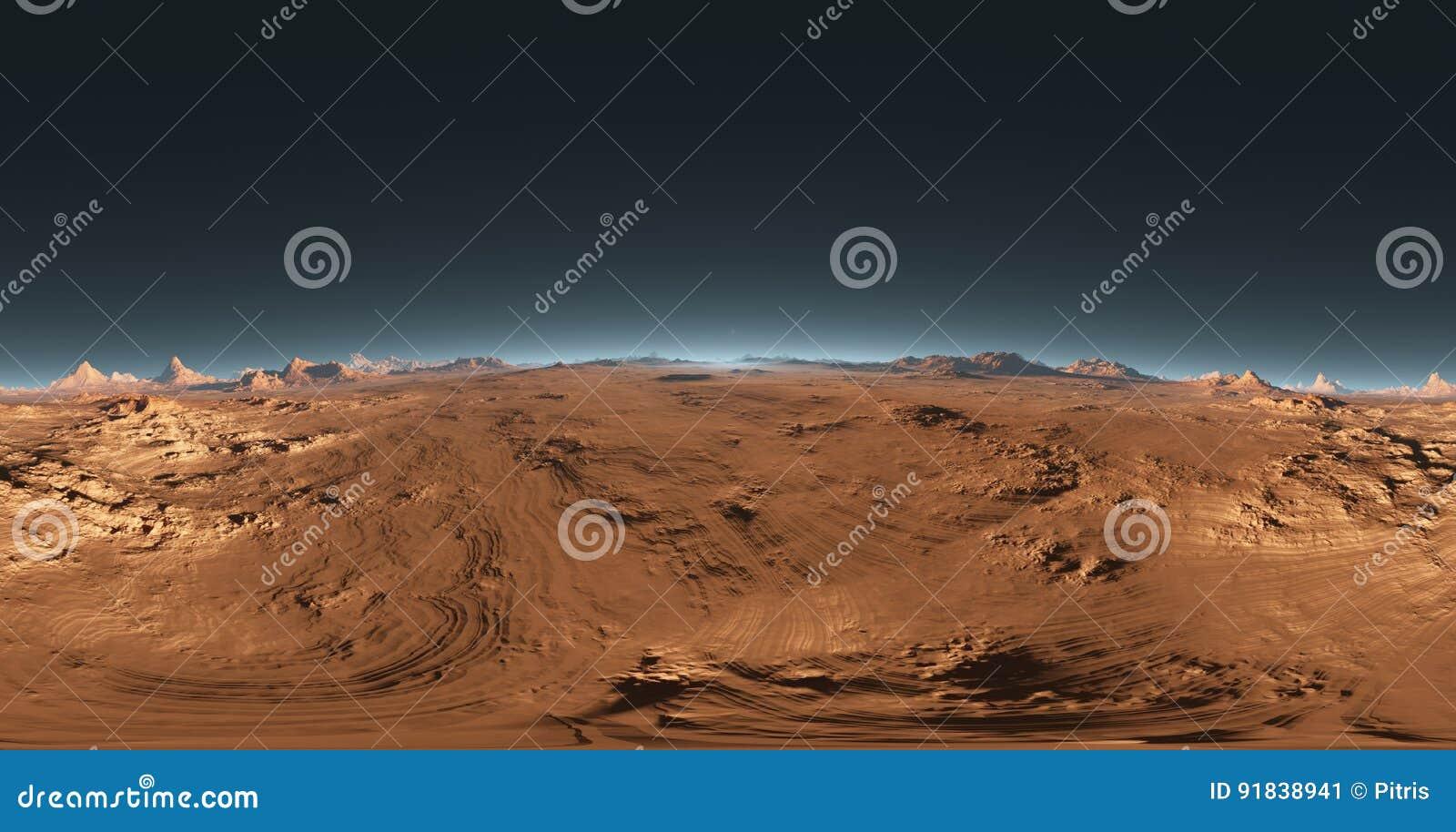 Panorama von Mars-Sonnenuntergang, Karte der Umwelt HDRI Equirectangular-Projektion, kugelförmiges Panorama Marslandschaft