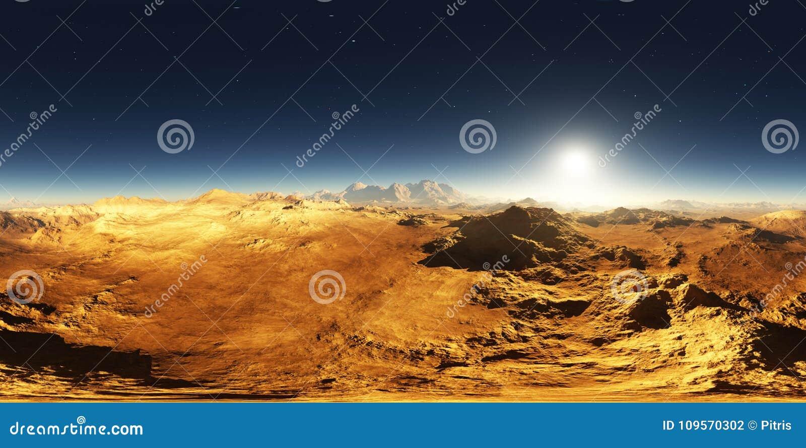 Panorama von Mars-Sonnenuntergang Marslandschaft, Karte der Umwelt 360 HDRI Equirectangular-Projektion, kugelförmiges Panorama