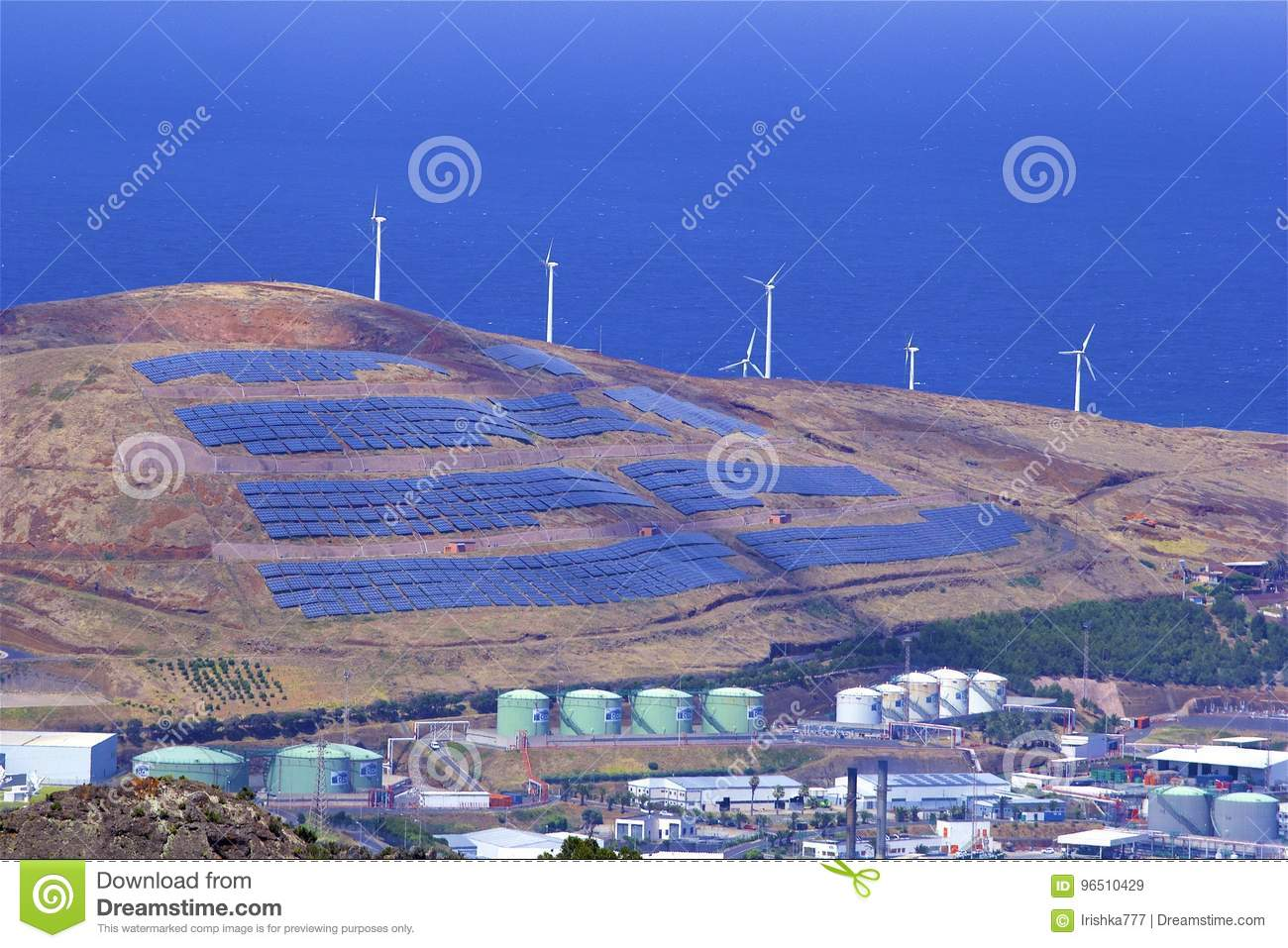 Panorama Of Wind Mills In Canical  Madeira, Portugal Editorial Stock