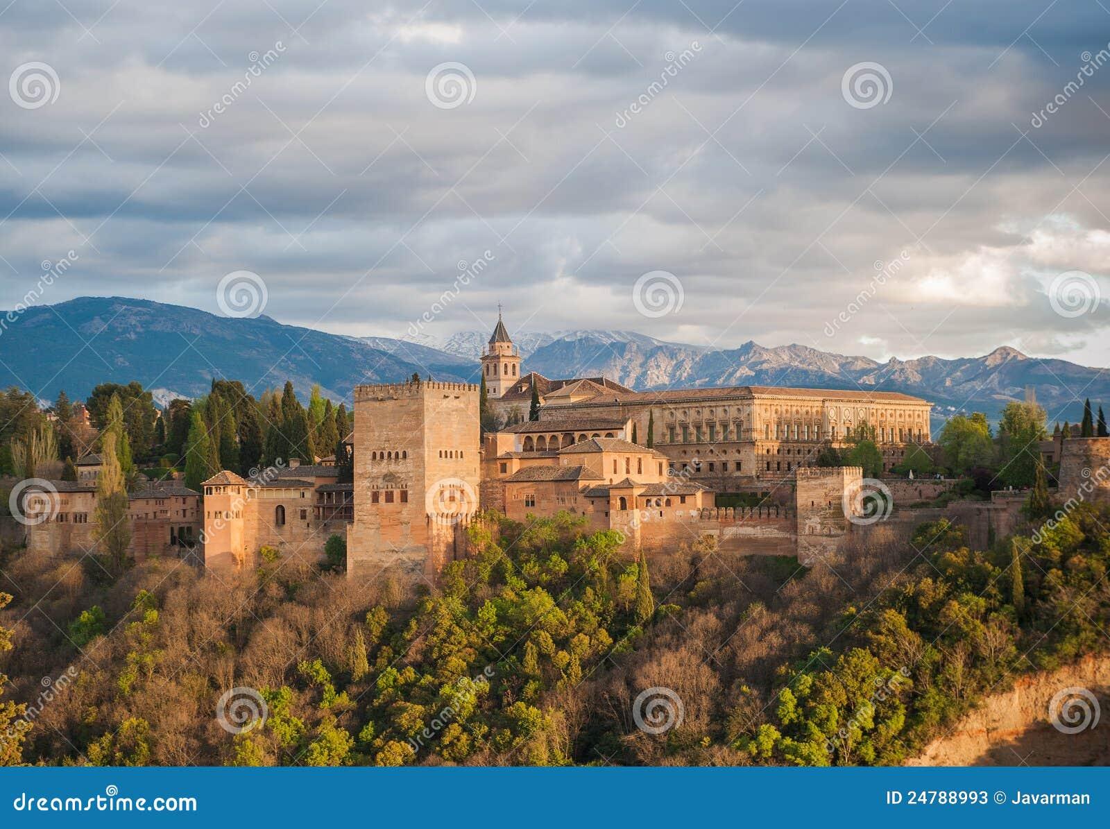 Panoramaansicht des Alhambra-Palastes, Granada, Spanien