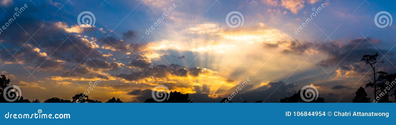 Panoramabild av färgrikt molnig för himmelskymning och stickafoder,