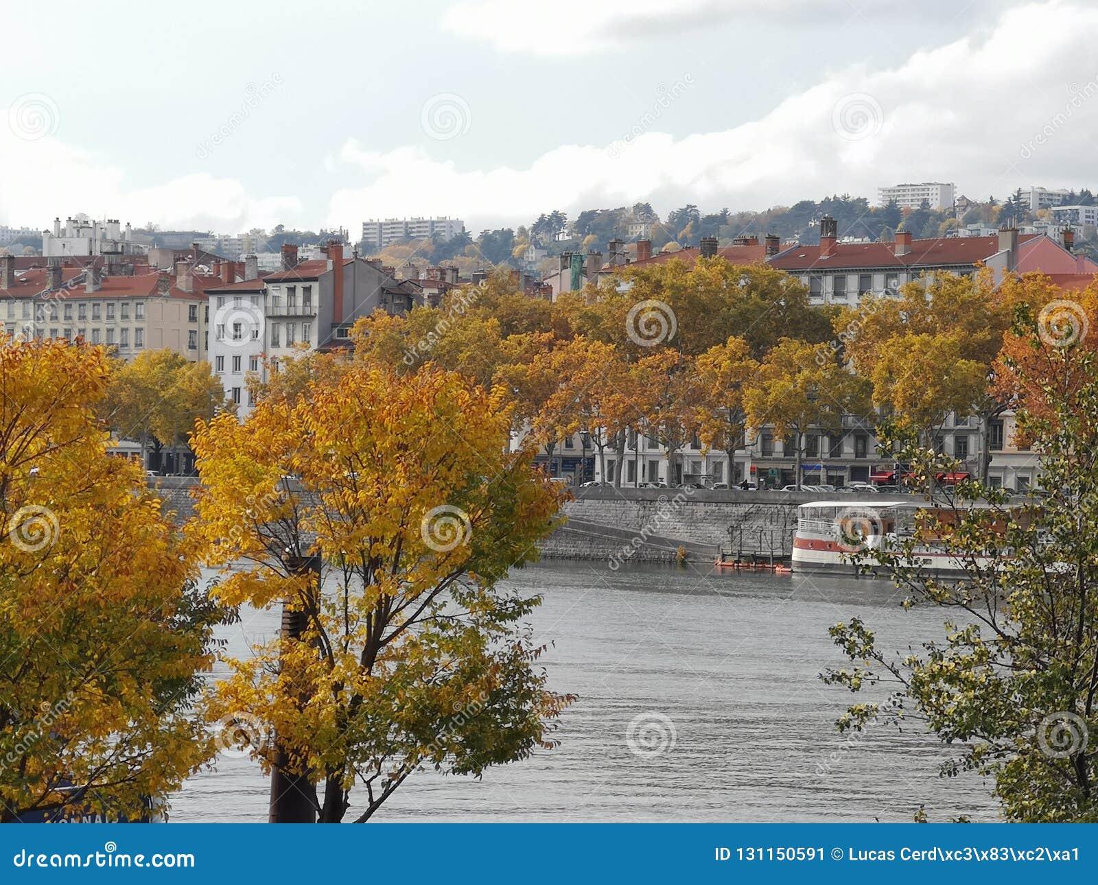 Panoramablick von Lyon, Herbst, Frankreich
