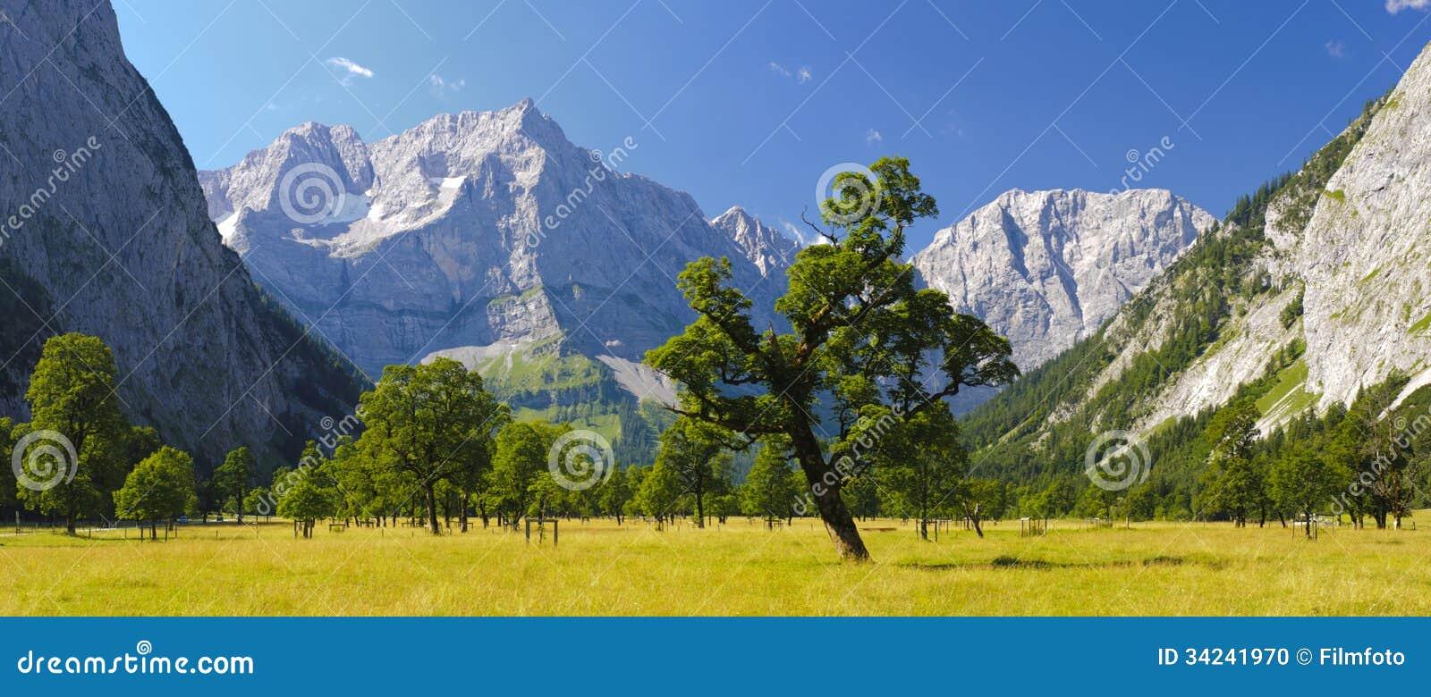 Panoramalandskap i Österrike