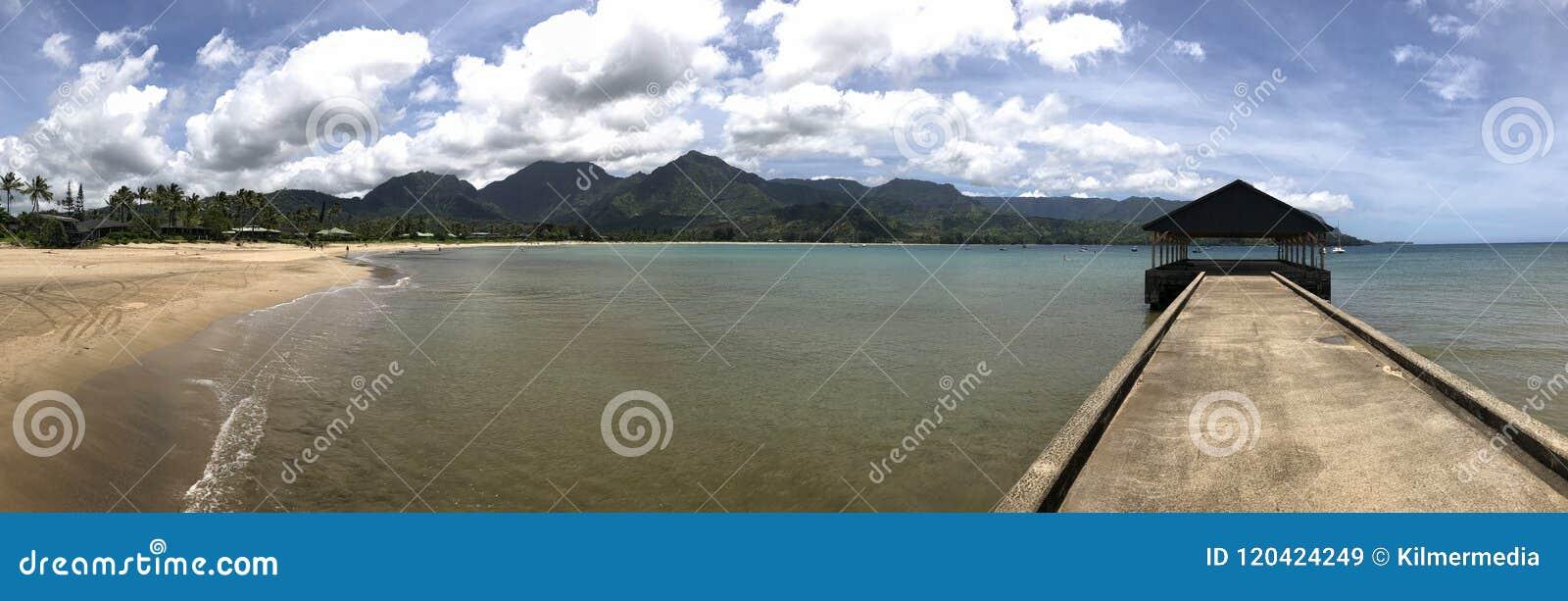 Panoramamening met groot scherm van Hanalei-Pijler en Baai, Kauai, Hawaï,