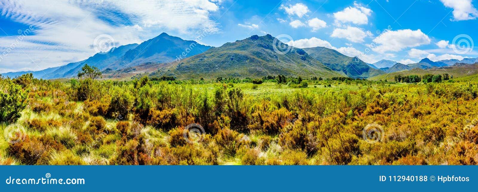 Panoramamening van het zuidelijke eind van de Franschhoek-Pas die naar de Bergen van Wemmershoek kijken en Franschhoek-