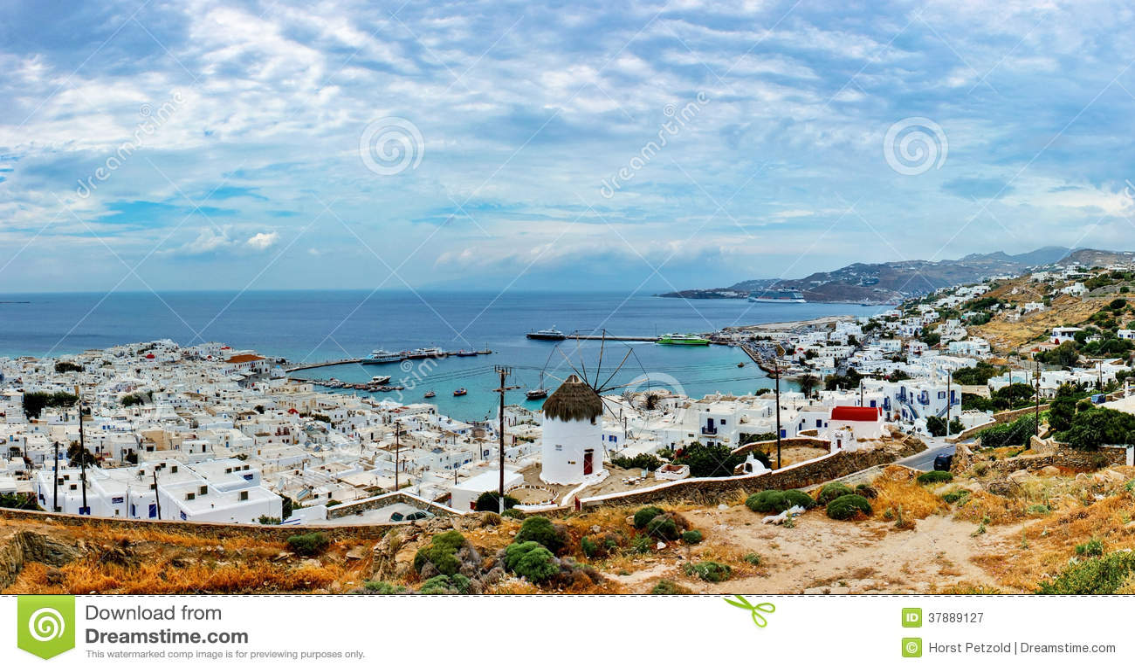 Panoramamening van Mykonos.