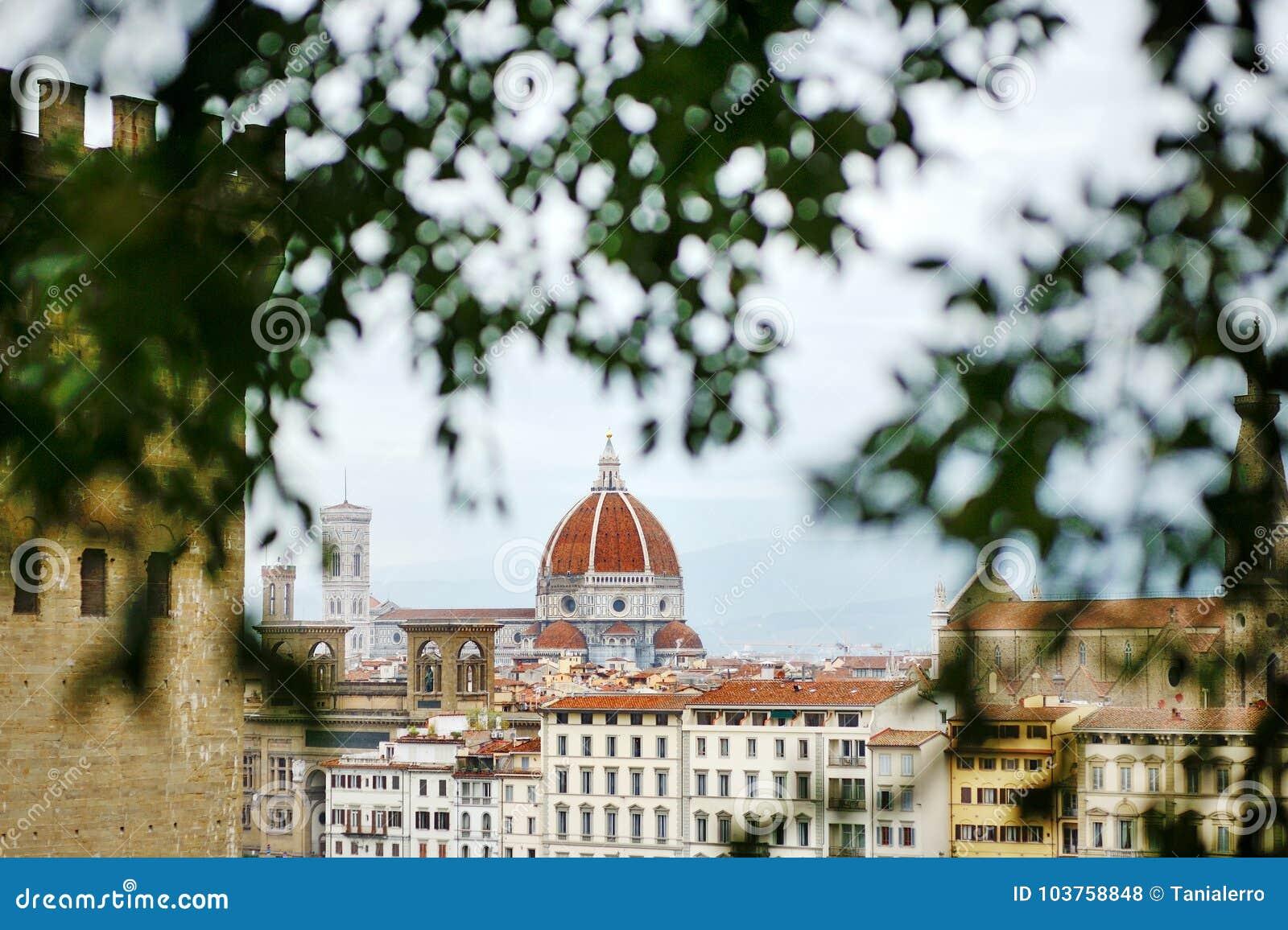 Panoramautsikt av den Florence och domkyrkakupolen, Tuscany, Italien,
