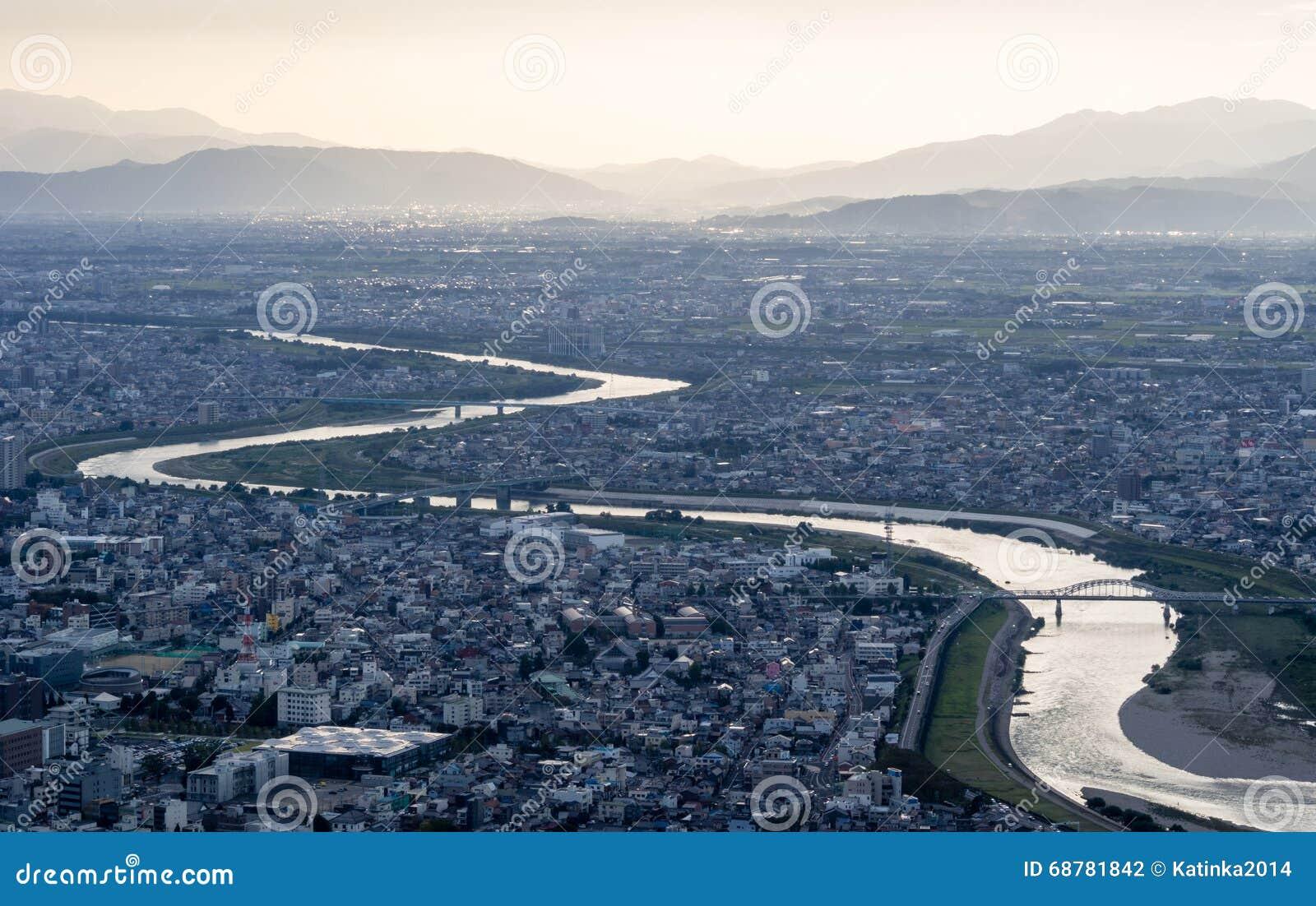 Panoramautsikt av den Gifu staden, Japan