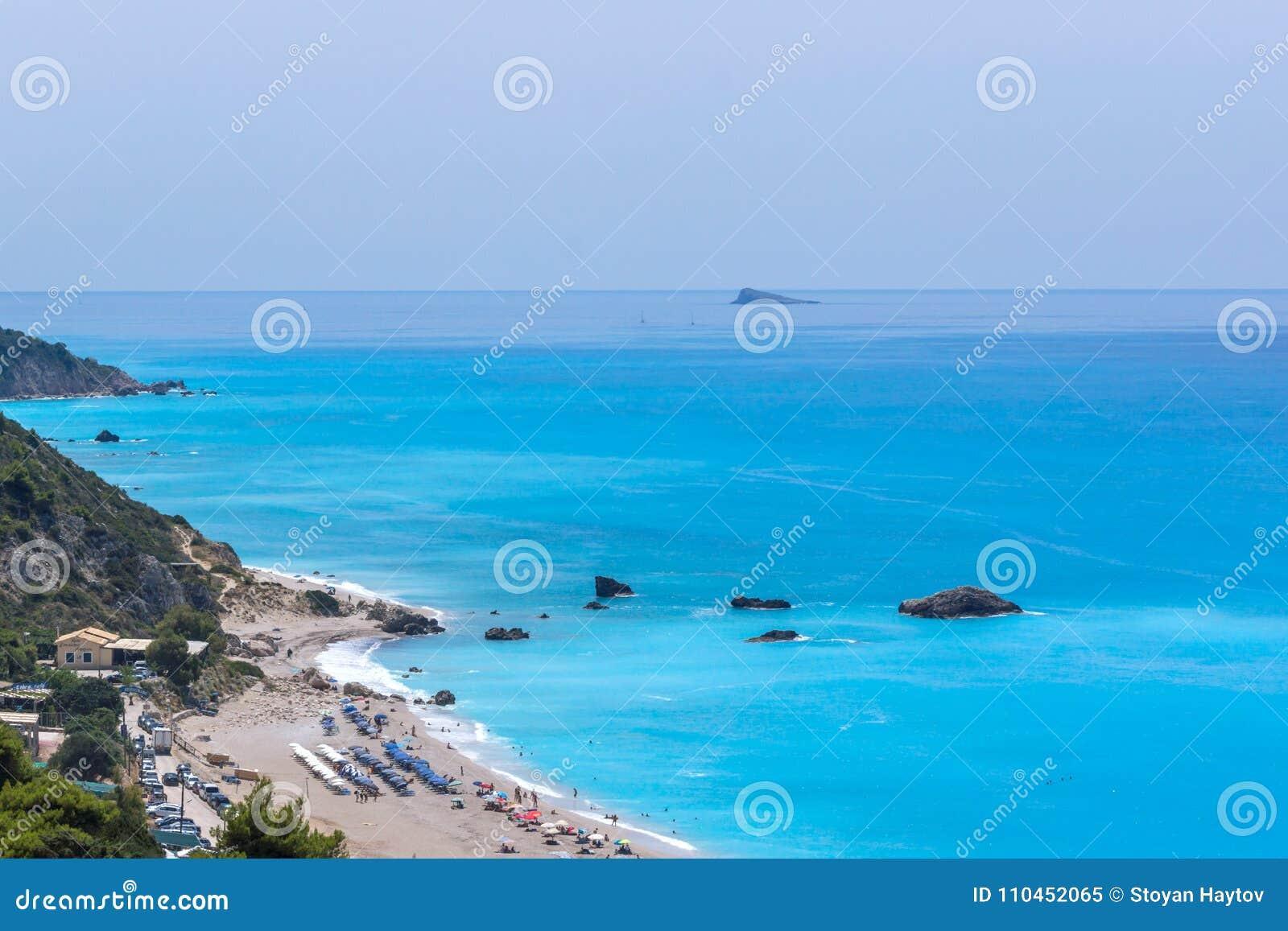 Panoramautsikt av den Kathisma stranden, Lefkada, Grekland