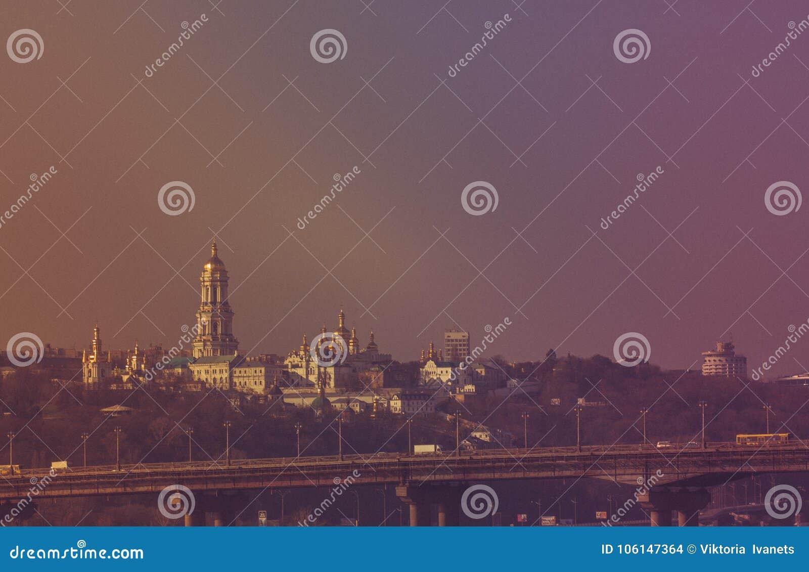 Panoramautsikt av Kiev Pechersk Lavra Orthodox Monastery i Kiev, Ukraina