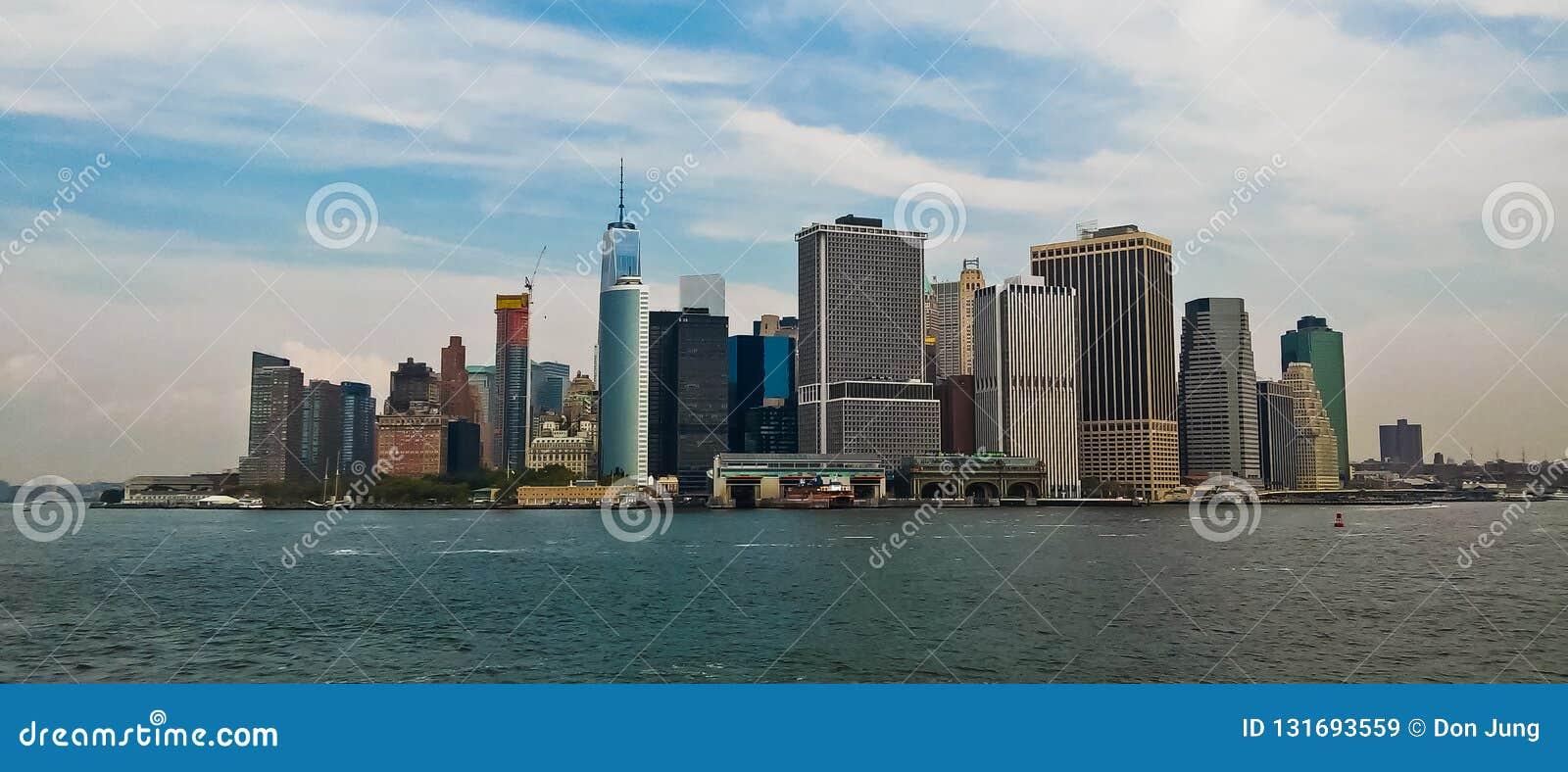 Panoramautsikt av lägre Manhattan NYC