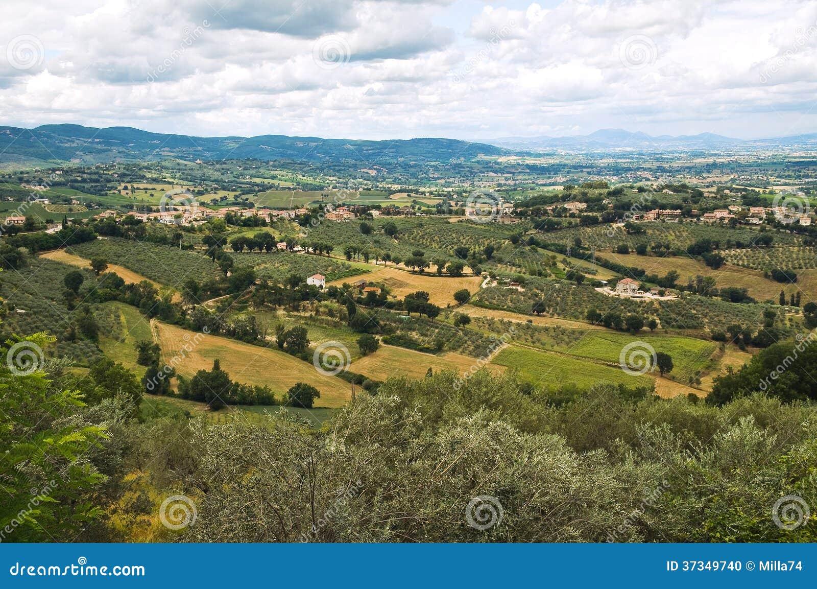 Panoramautsikt av Montefalco. Umbria. Italien.