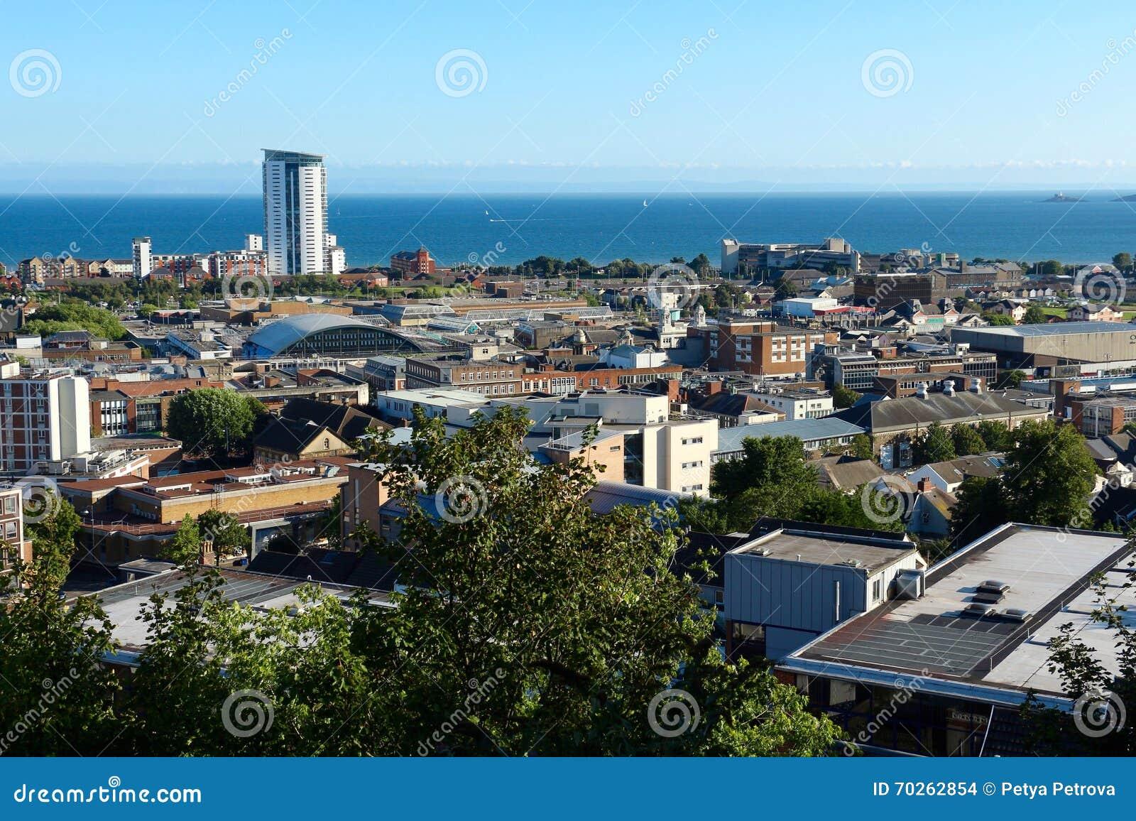 Panoramautsikt av Swansea, Wales, UK