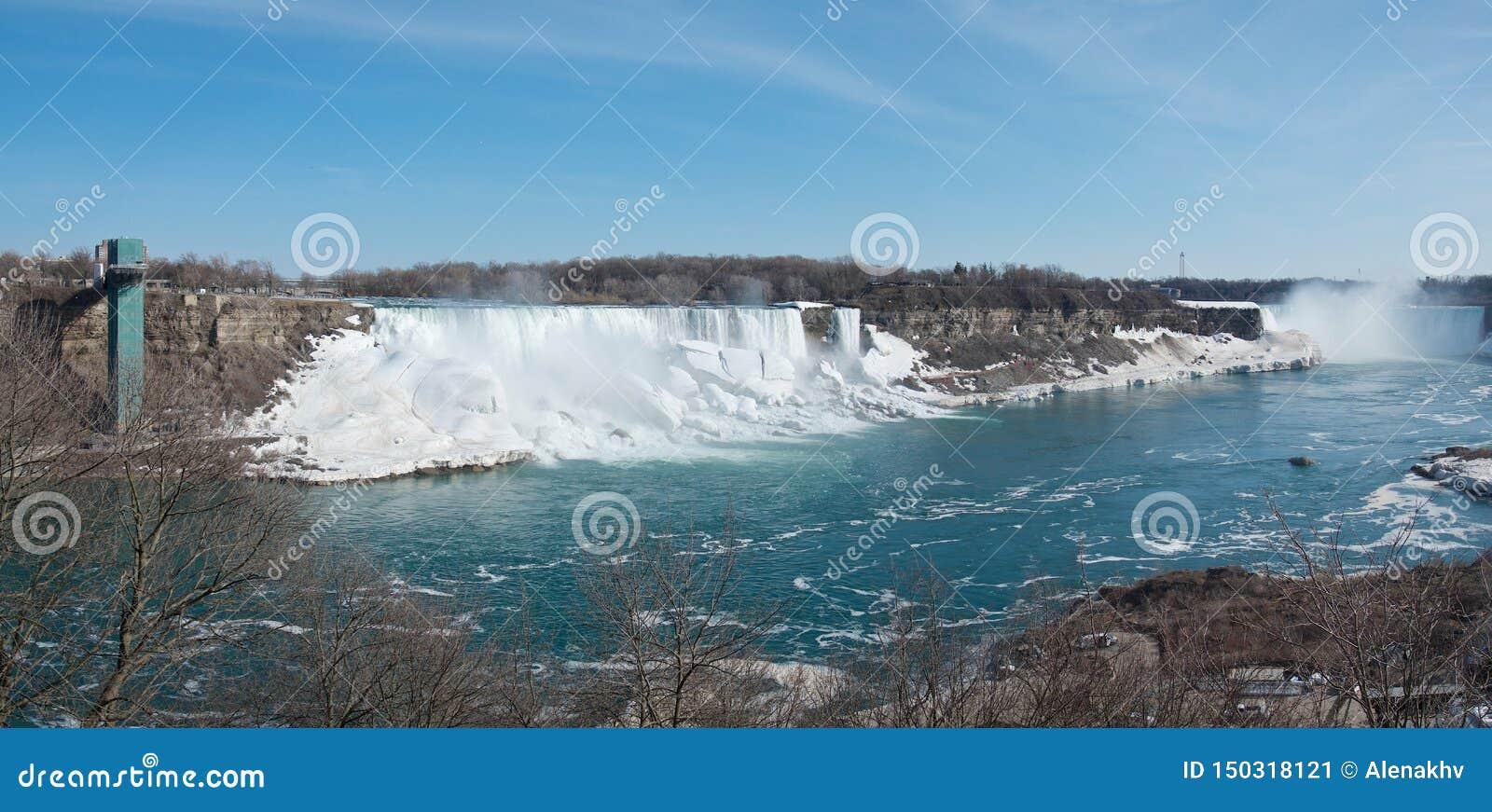 Panoramautsikten av de Niagara Falls hästskonedgångarna, de amerikanska nedgångarna som är brud- skyler nedgångar och det amerika
