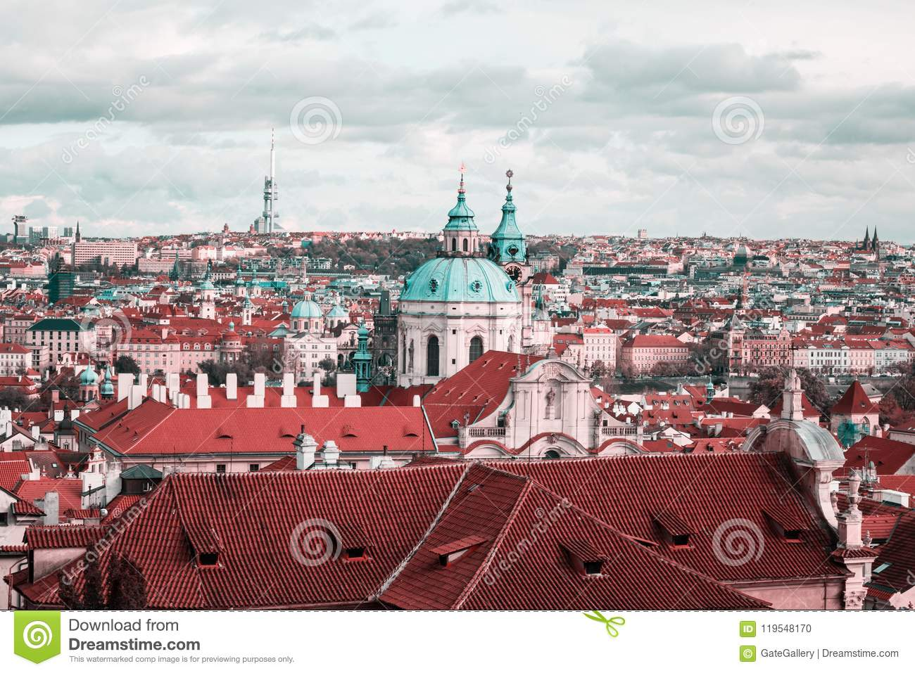 Panoramic And Above City View Of Prague From Prague Castle