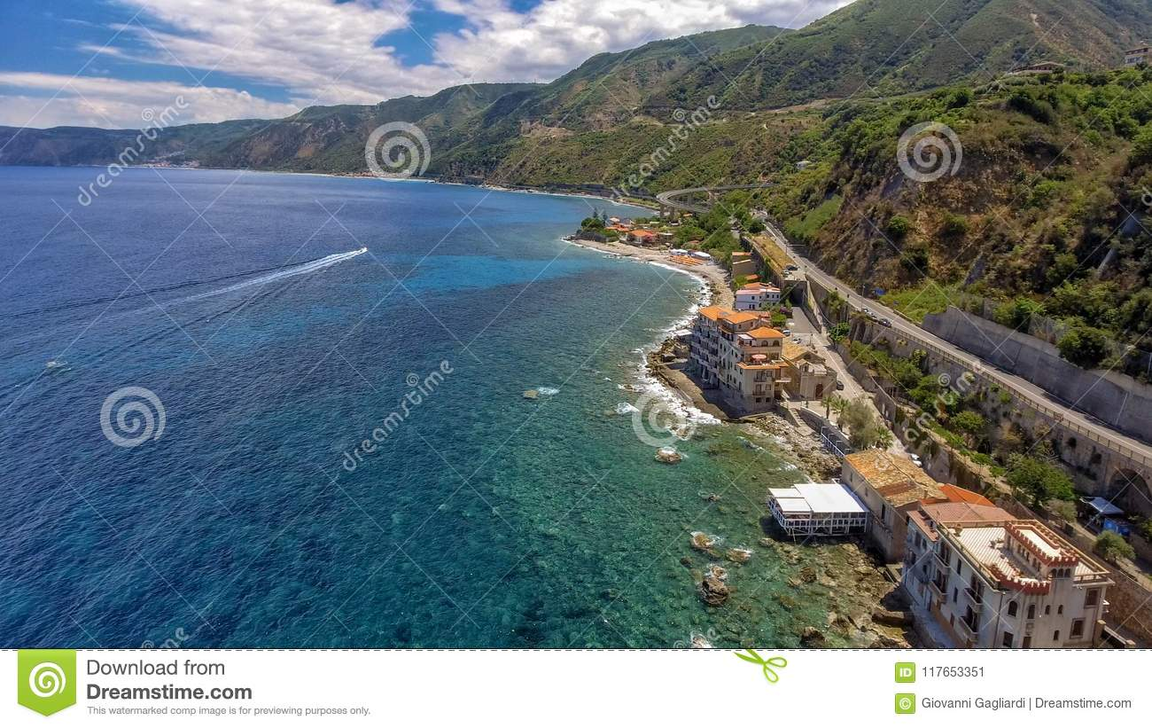 Panoramic aerial view of Chianalea homes in Scilla, Calabria - I