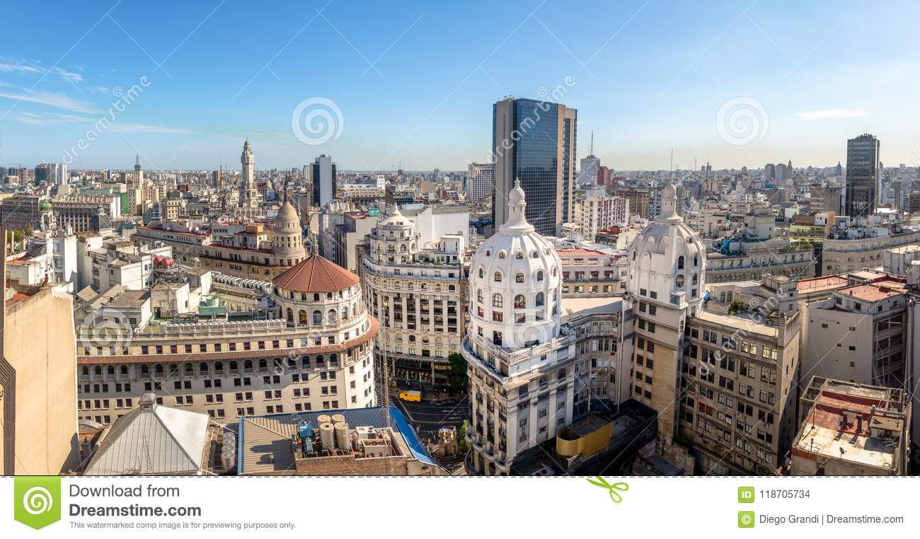 Panoramic aerial view of Downtown Argentina - Buenos Aires, Argentina