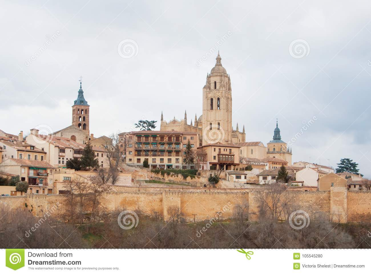 Panoramic aerial view of the historic city center of Segovia sky