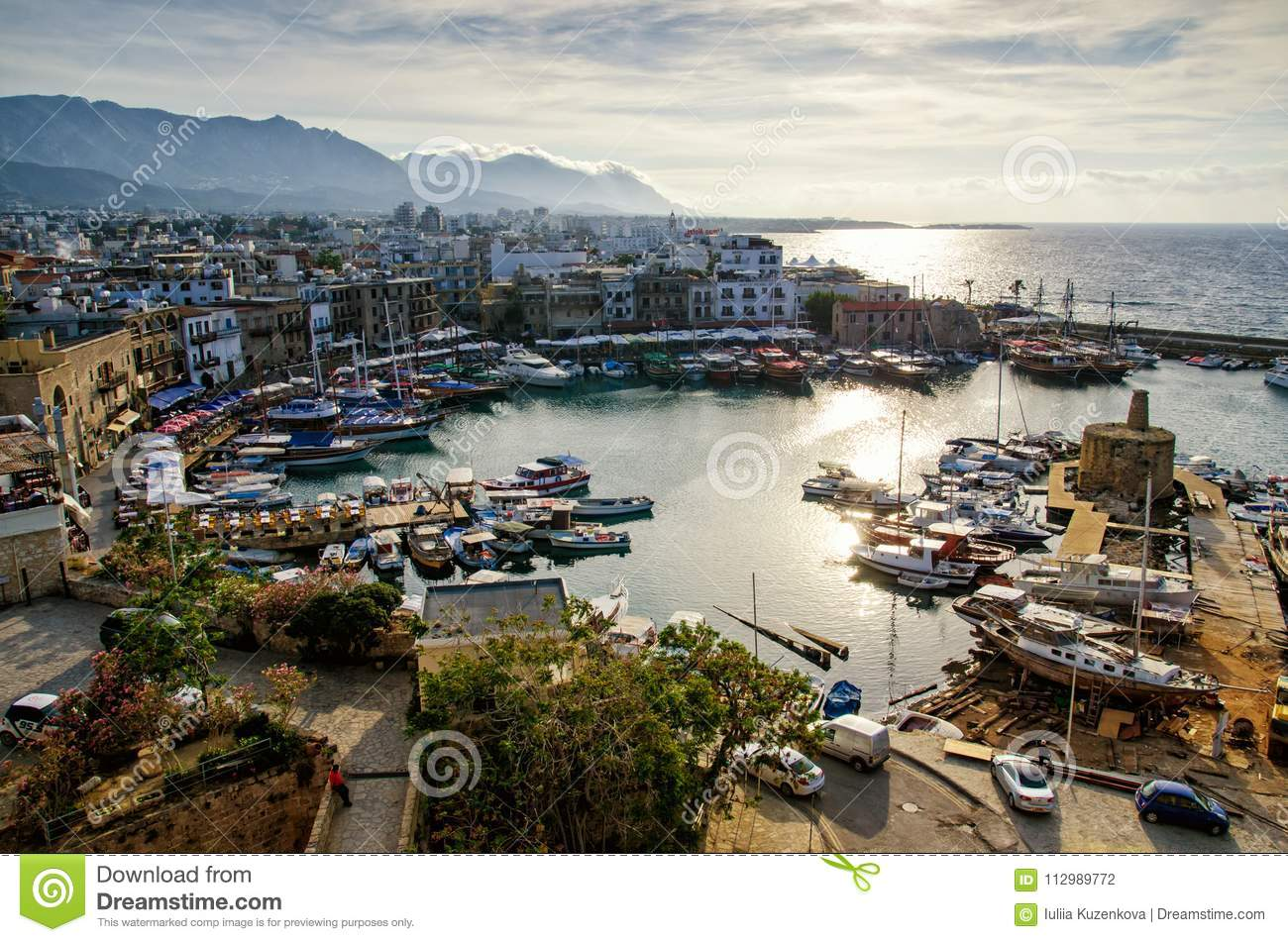 Panoramic aerial view of historic harbour in Kyrenia Girne , North Cyprus