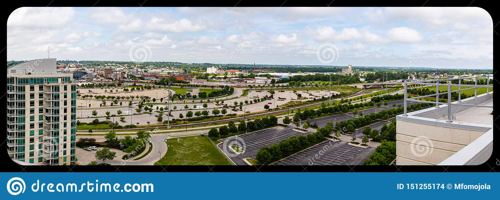 Panoramic aerial view of Omaha Nebraska convention center and Gallup University parking lots