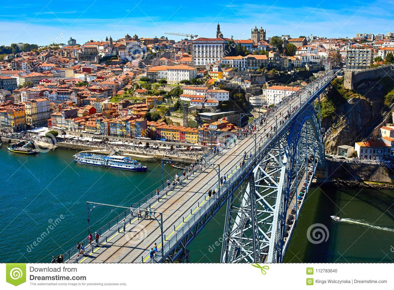 Panoramic aerial view of Porto in a beautiful summer day, Portugal