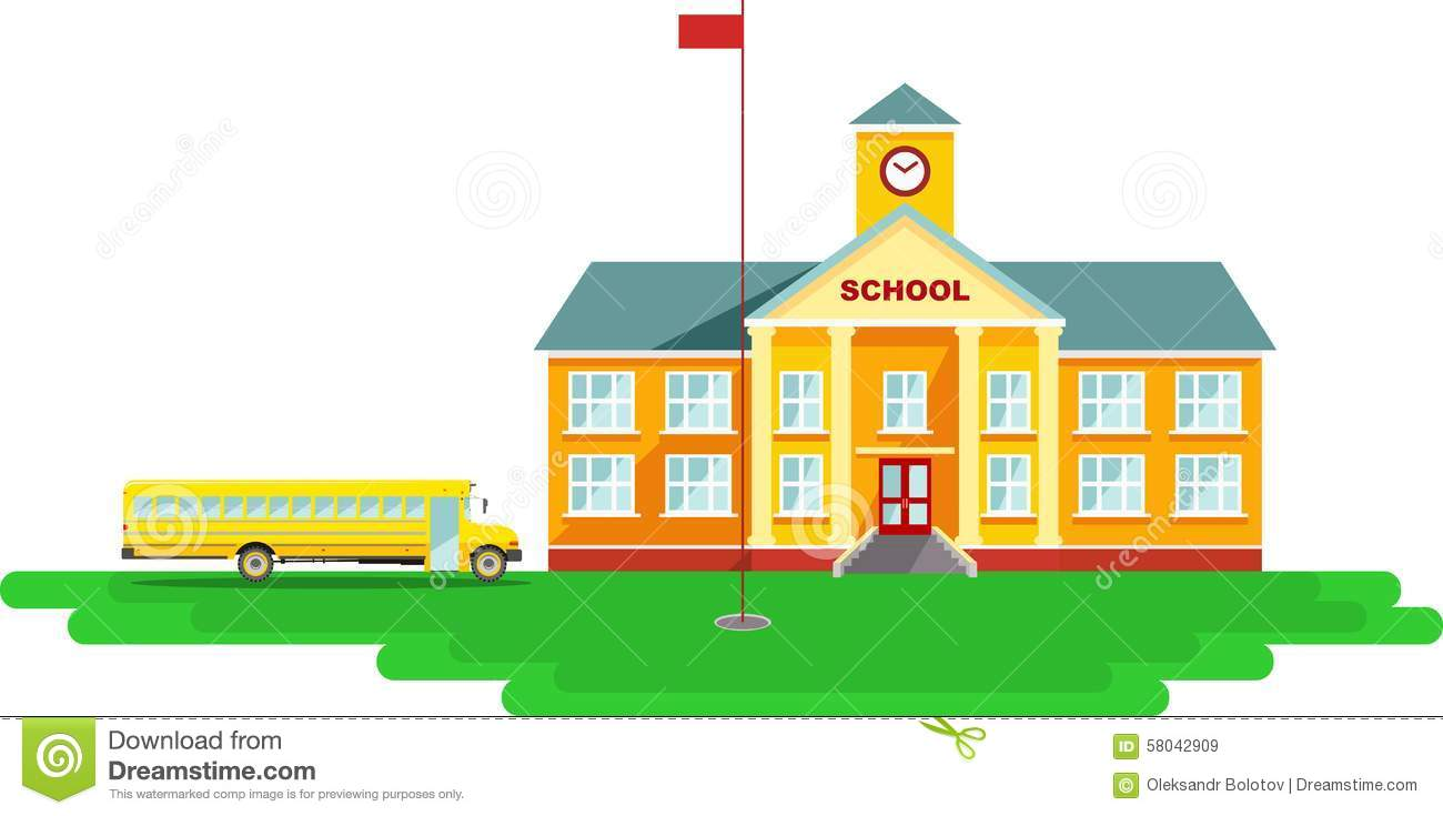 Panoramic Background With School Building And Stock Vector ...