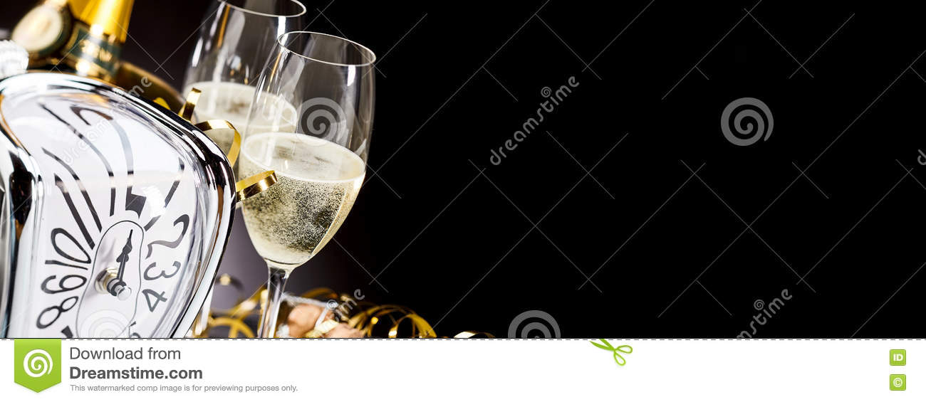 Panoramic banner with New Years champagne