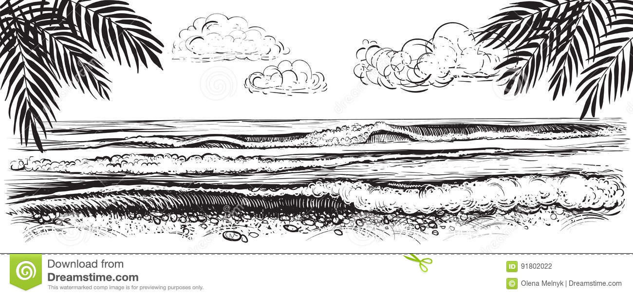 Panoramic Beach View Vector Illustration Of Ocean Or Sea Waves Hand Drawn