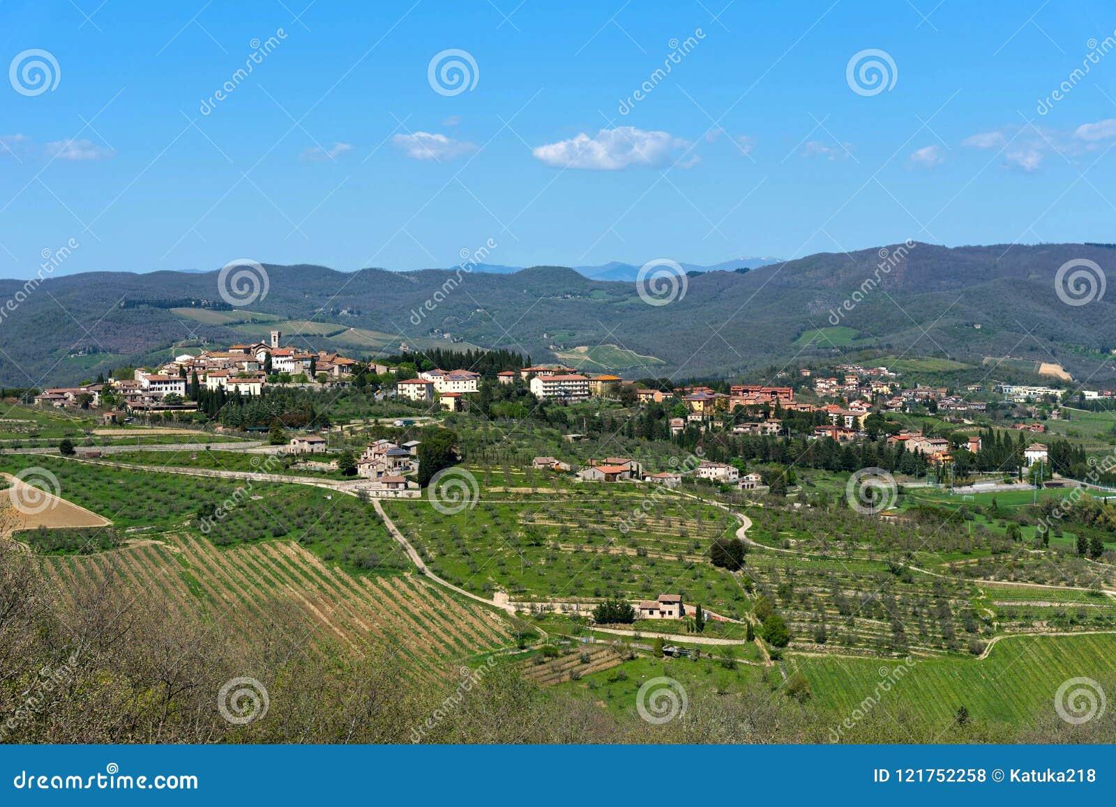 Panoramic beautiful view of Radda in Chianti province of Siena, Tuscany, Italy.