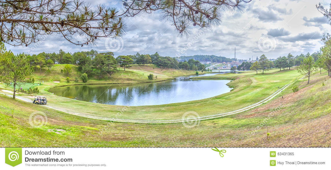 Panoramic Beauty Of Da Lat Golf Course Hillside Editorial ...