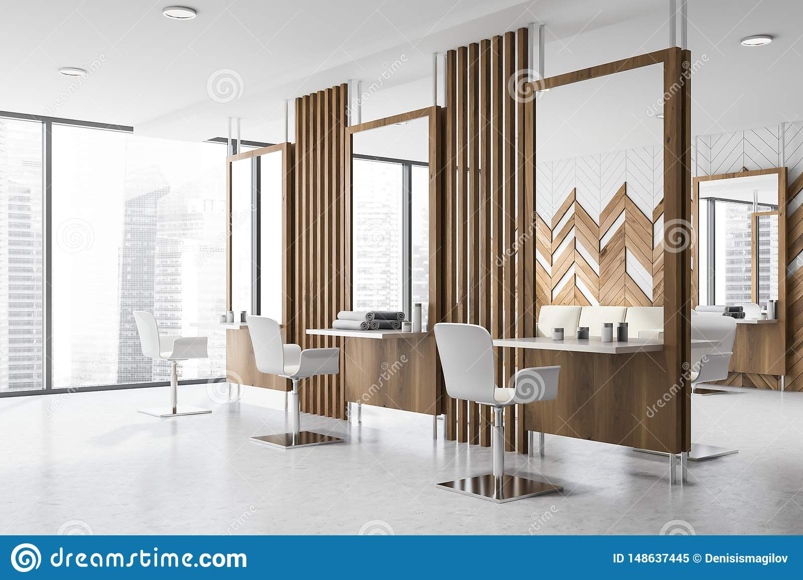 Panoramic Beauty Salon Interior Design Stock Illustration Illustration Of Barber Details 148637445