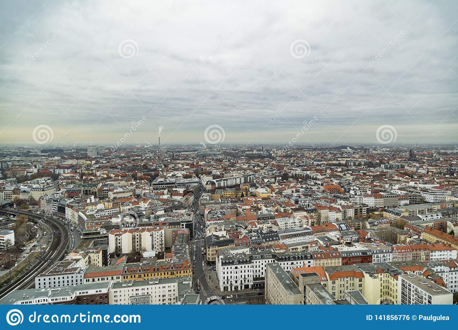 Panoramic cityscape of Berlin from the top