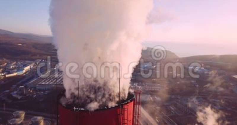 Close View Of Central Heating And Power Plant Chimney Top With Steam ...
