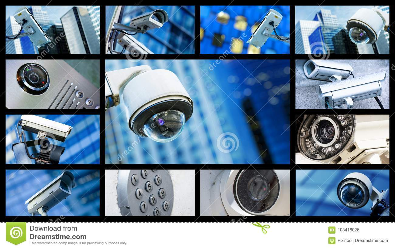 Panoramic Collage Of Closeup Security CCTV Camera Or ...