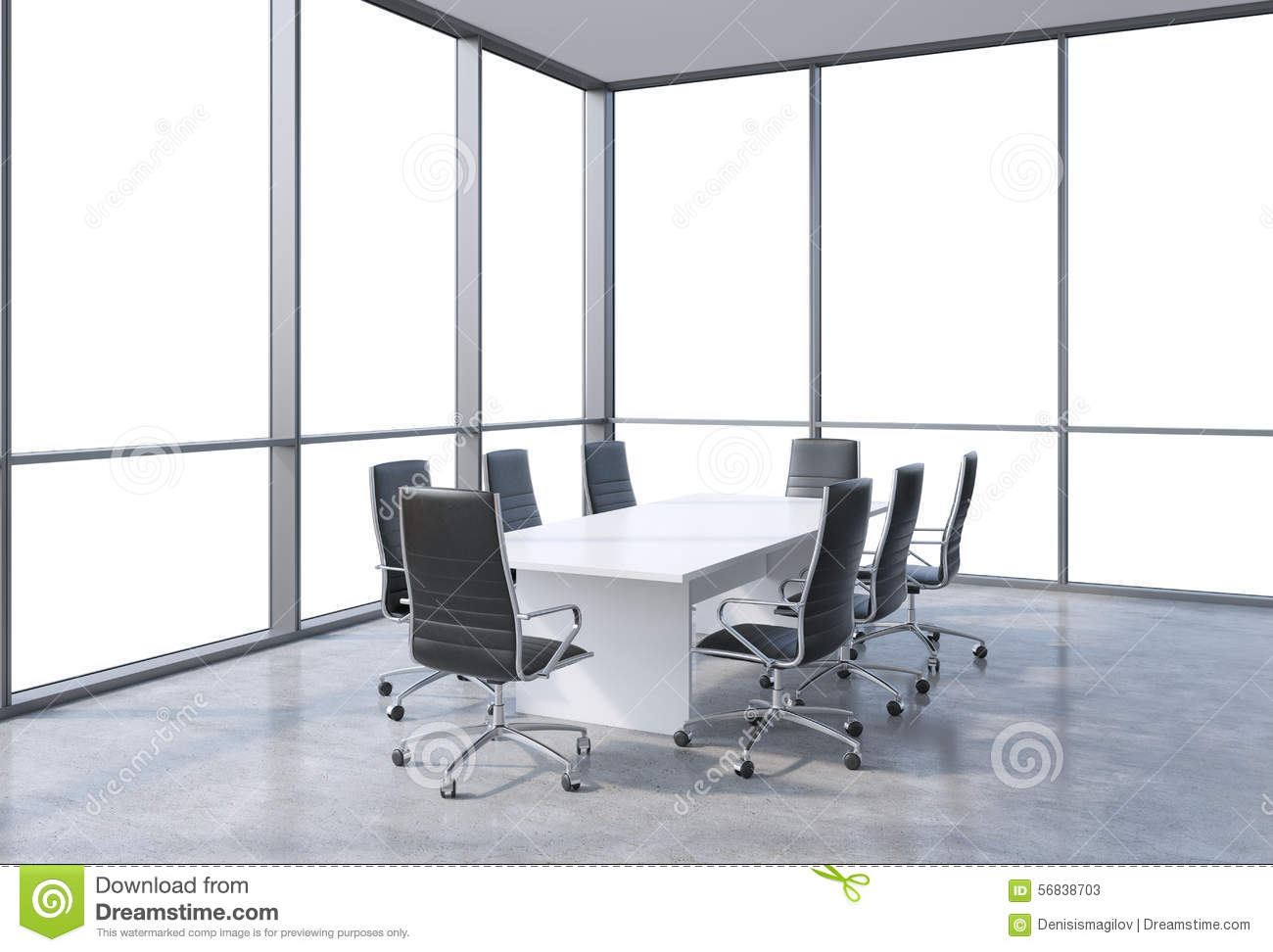Panoramic conference room in modern office copy space for Conference room chairs modern