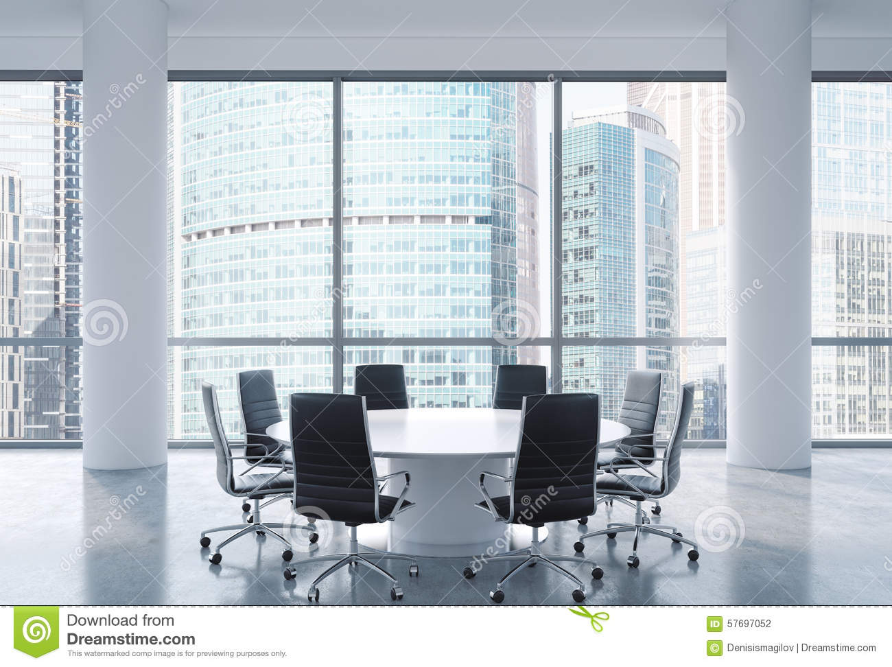 Panoramic Conference Room In Modern Office Moscow