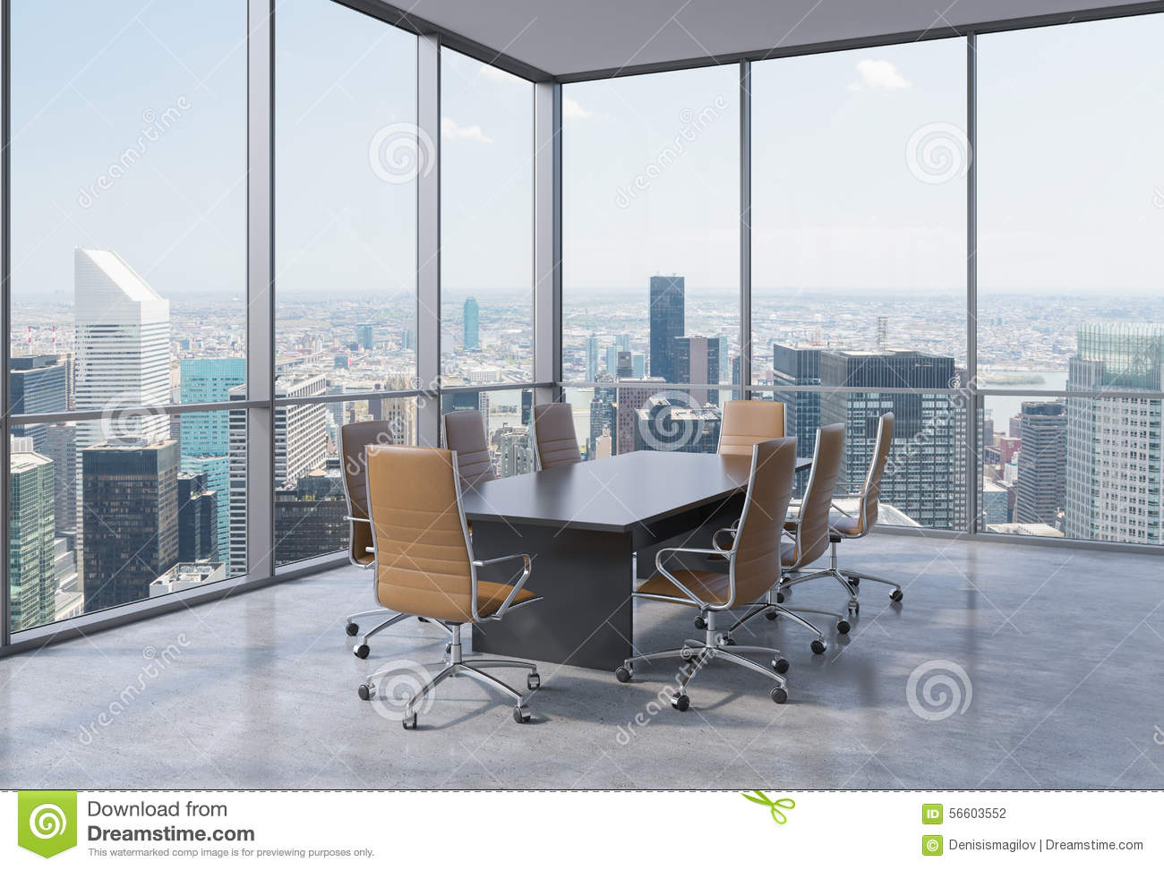 Panoramic conference room in modern office in new york city brown chairs and a black table