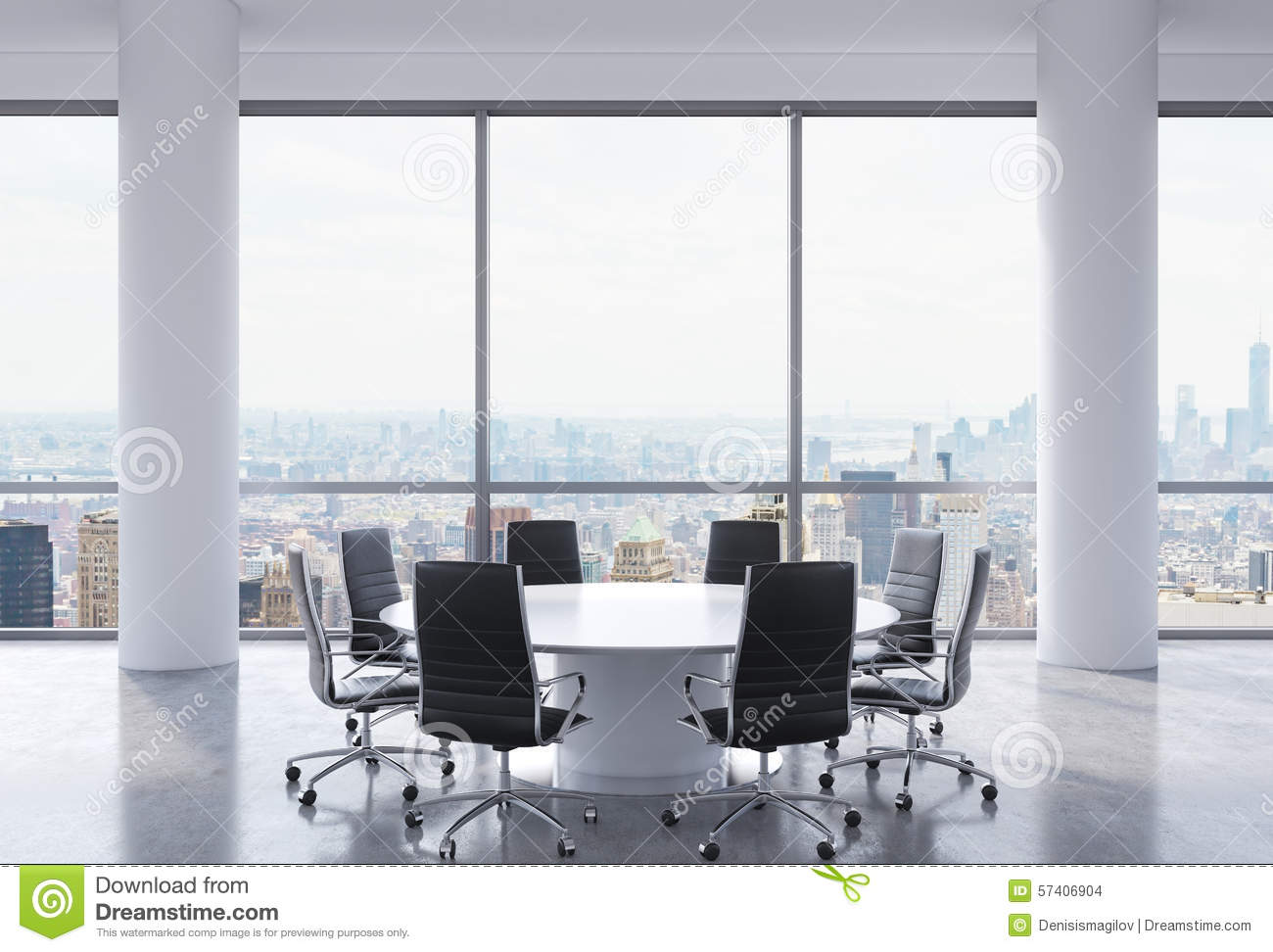 Royalty Free Illustration  Download Panoramic Conference Room In Modern  Office  New York. Panoramic Conference Room In Modern Office  New York City View
