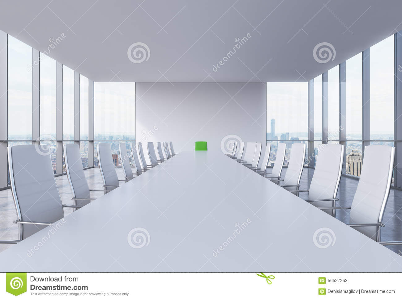 Panoramic Conference Room In Modern Office In New York ...