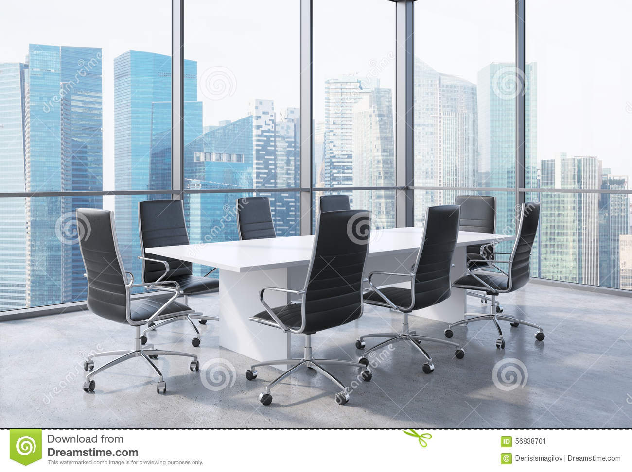Panoramic Conference Room In Modern Office In Singapore Black - Conference table and chairs for sale
