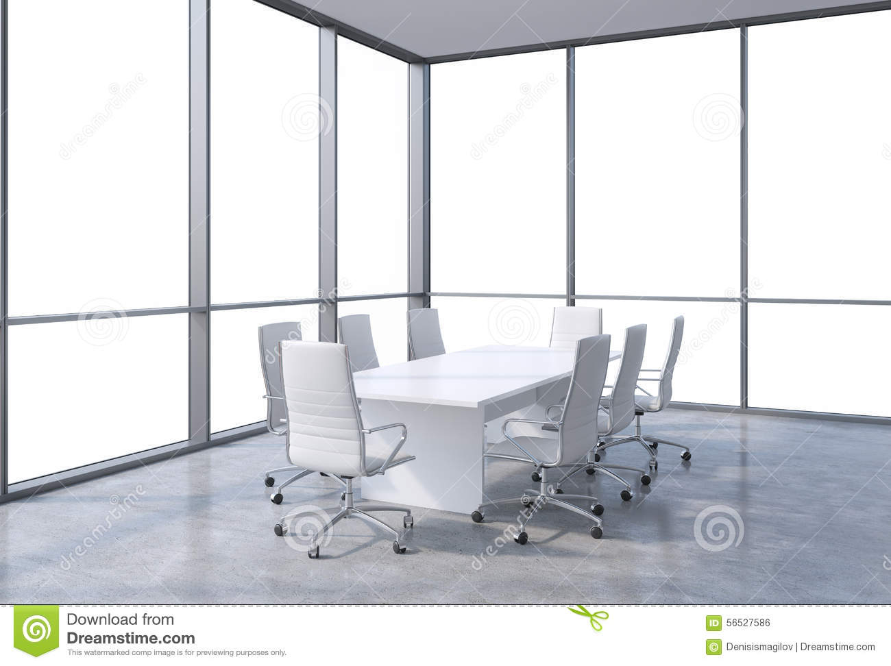Bright And Minimalist Modern Office Meeting Room Stock Photo ...